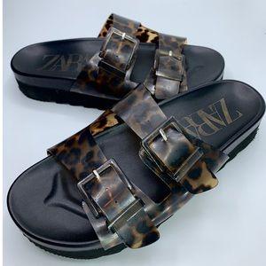 {Zara} Leopard Print Sandals